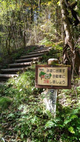 林道に出る階段
